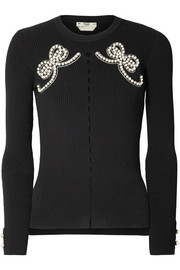 Fendi Faux-pearl embellished ribbed-knit sweater