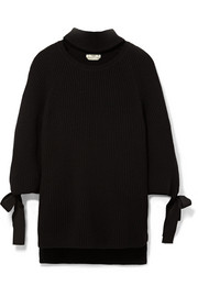 Cutout bow-embellished ribbed cashmere sweater