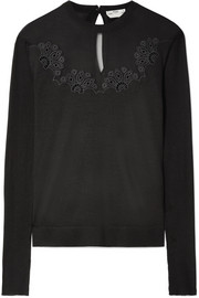 Fendi Mesh-paneled embroidered silk sweater