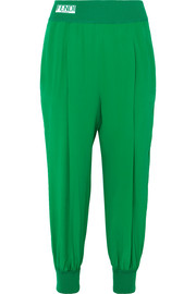 Fendi Striped silk crepe de chine track pants