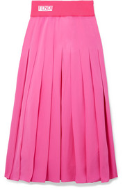 Pleated silk crepe de chine midi skirt