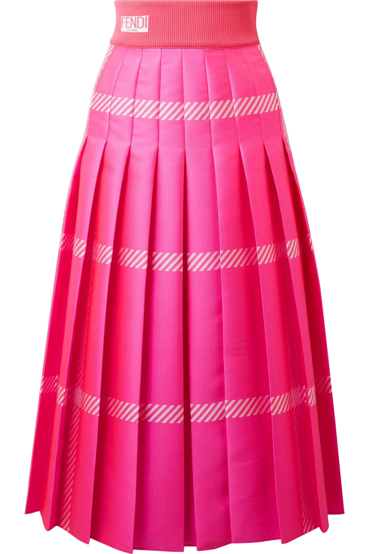 Fendi Pleated checked jacquard midi skirt