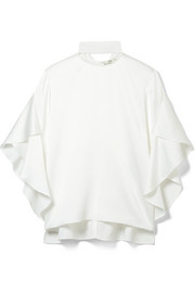 Fendi Grosgrain-trimmed washed-satin top