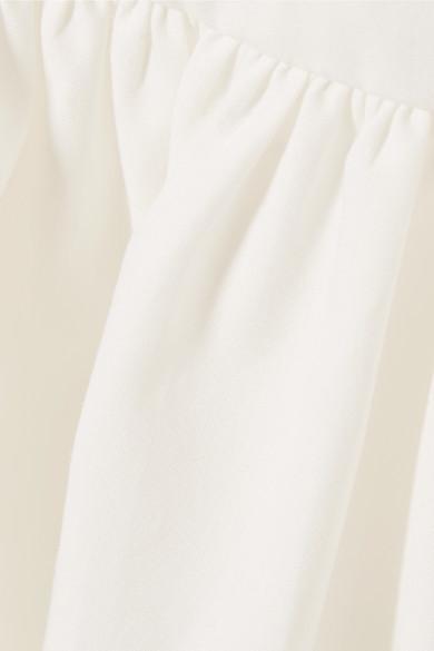 Fendi Oberteil aus Baumwollpopeline mit Ripsbandbesatz und Rüschen