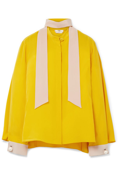 Fendi - Faux Pearl-embellished Silk Crepe De Chine Blouse - Yellow