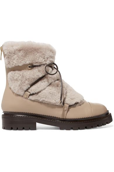 Freies Verschiffen Geniue Händler Jimmy Choo Darcie Ankle Boots aus Shearling und Leder Genießen Günstigen Preis MJDOJSFLhN