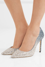Jimmy Choo Romy 100 glittered suede pumps