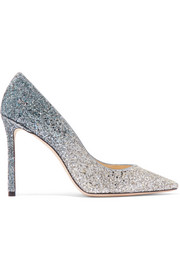 Romy 100 glittered suede pumps