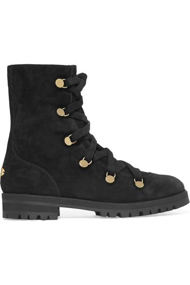 Jimmy Choo - Danity Suede Combat Boots - Black
