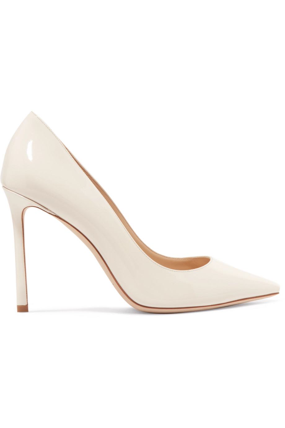 Exact Product: Romy 100 patent leather pumps, Brand: Jimmy Choo, Available on: net-a-porter.com, Price: $595
