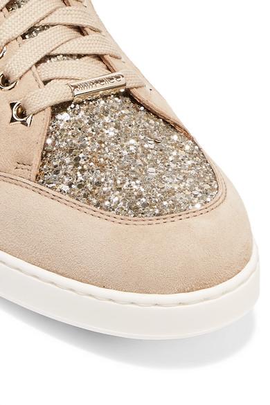 Jimmy Choo Miami Sneakers aus Veloursleder mit Einsätzen im Glitter-Finish