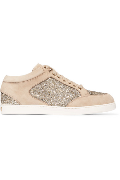 Miami Glitter-paneled Suede Sneakers - Beige Jimmy Choo London Dl1vn3m