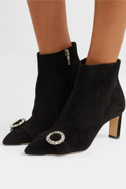 Jimmy Choo Hanover 65 crystal-embellished suede ankle boots