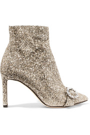 Jimmy Choo Hanover 85 crystal-embellished glittered leather ankle boots