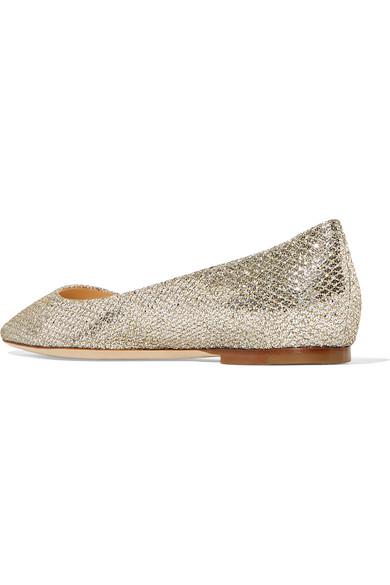 Jimmy Choo aus | Romy flache Schuhe mit spitzer Kappe aus Choo Canvas mit Glitter-Finish 7a1235