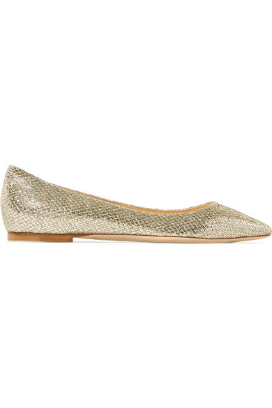 Romy Degradé Glittered Leather Point-toe Flats - Baby pink Jimmy Choo London qhKM2