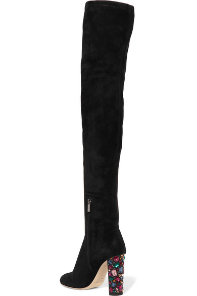 Mya 100 Embellished Stretch-suede Over-the-knee Boots - Black Jimmy Choo London For Cheap Cheap Online Real Sale Online Cheap Pick A Best SxdKv
