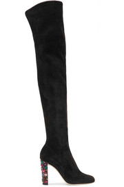 Jimmy Choo Mya 100 embellished stretch-suede over-the-knee boots