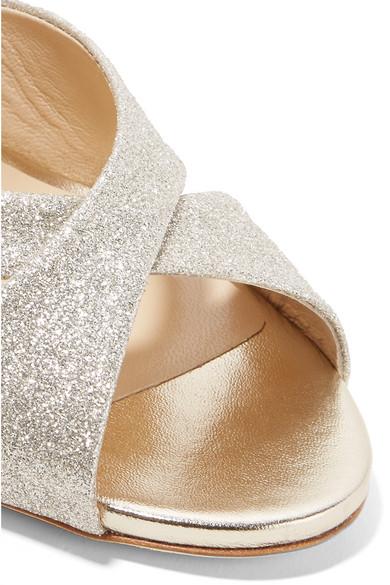 Jimmy Choo Lara 85 Sandalen aus Leder mit Glitter-Finish Günstigsten Preis zsovU1dXP