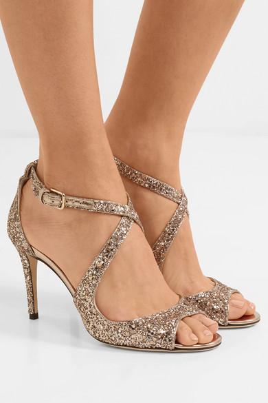 54b8098db0f Jimmy Choo. Emily 85 glittered leather sandals