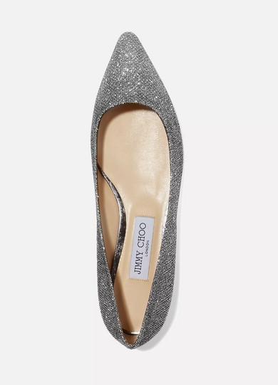 Jimmy Choo | Romy Kappe flache Schuhe mit spitzer Kappe Romy aus Canvas mit Glitter-Finish 1c6300