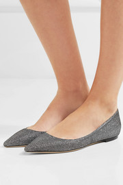 Romy glittered canvas point-toe flats