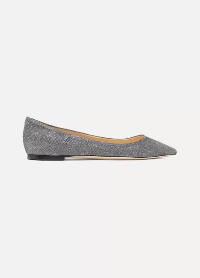 Jimmy Choo Romy flache Schuhe mit spitzer Kappe aus Canvas mit Glitter-Finish 2018 Unisex Zum Verkauf QwNO969k