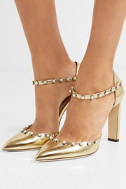 Jimmy Choo Leema 100 embellished metallic leather pumps