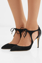 Jimmy Choo Vanessa 85 cutout suede and leather pumps