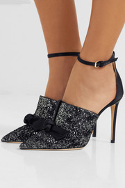 Jimmy Choo Temple 100 glittered velvet and satin pumps