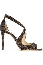 Jimmy Choo Emily 100 glittered leather sandals