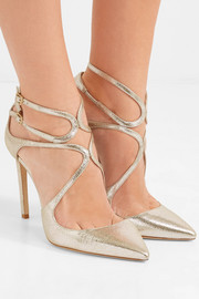 Jimmy Choo Lancer 100 metallic cracked-leather pumps