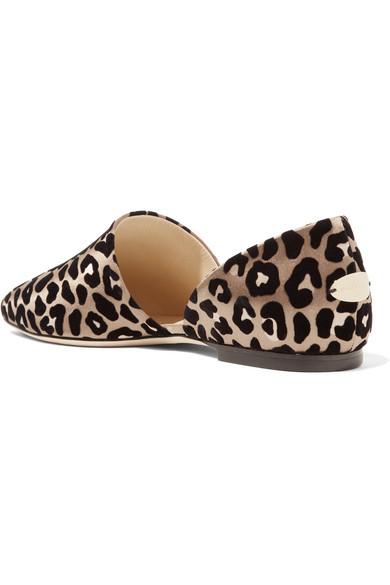 Jimmy Choo Globe flache Schuhe aus beflocktem Satin im Leoparden-Look Discounter Standorten x16kWRl