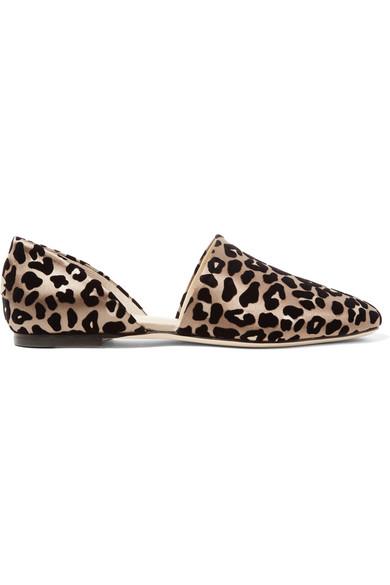 Jimmy Choo - Globe Flocked Leopard-print Satin Flats - Leopard print