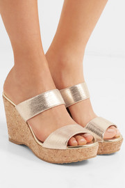 Jimmy Choo Parker 100 metallic textured-leather wedge sandals