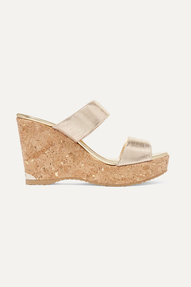 Jimmy Choo Parker 100 Wedges Made Of Textured Metallic Leather
