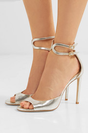 Jimmy Choo Lane 100 metallic cracked-leather sandals