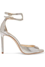 Lane 100 metallic cracked-leather sandals