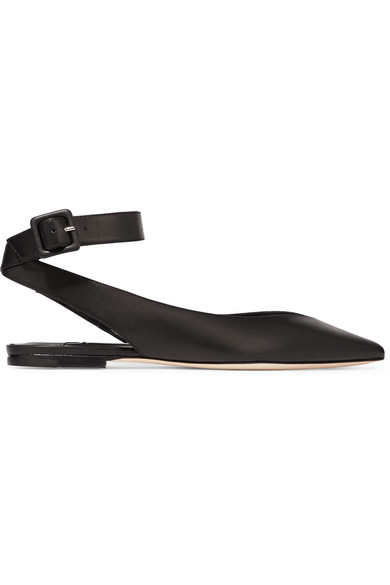 Jimmy Choo Lou Flat Leather Shoes With Pointed Cap