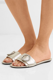 Granger crystal-embellished metallic leather slides