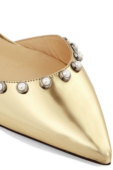 Jimmy Choo Leema flache Schuhe aus verspiegeltem Leder mit spitzer Kappe und Kunstperlenverzierungen