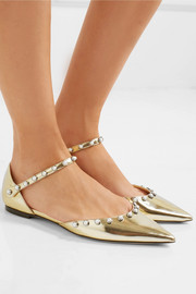 Leema faux pearl-embellished mirrored-leather point-toe flats