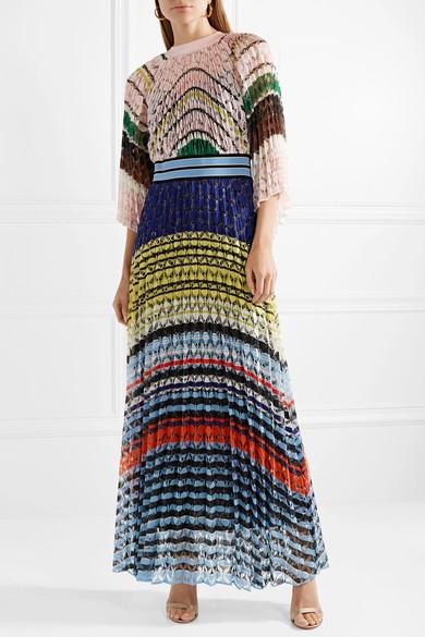 d2584299f1b Missoni. Pleated crochet-knit maxi dress