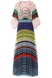 Pleated crochet-knit maxi dress
