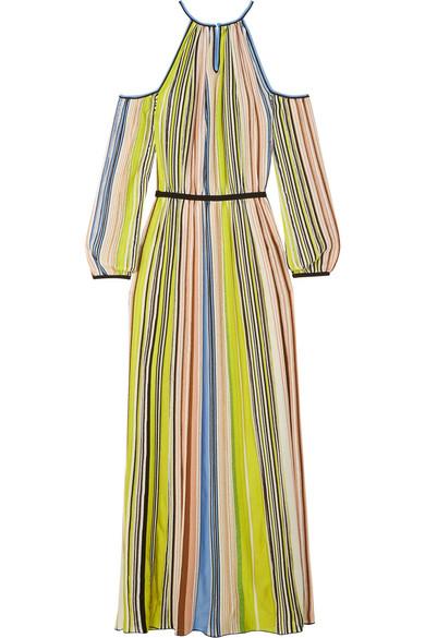 Missoni Maxikleid aus gestreiftem Strick in Häkeloptik mit Cut-outs