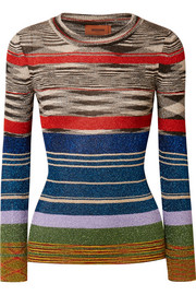 Striped metallic stretch-knit top