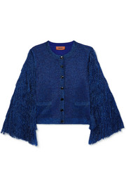 Fringed metallic knitted cardigan