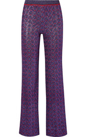 Metallic stretch-knit straight-leg pants