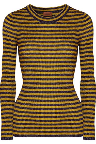 Missoni Gestreifter Pullover aus Metallic-Rippstrick
