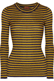 Striped metallic ribbed-knit sweater